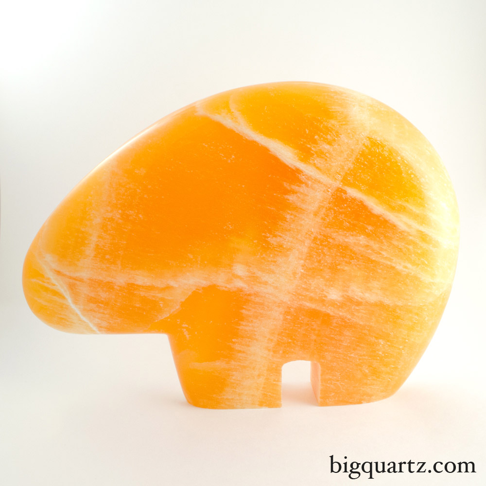 Large Orange Calcite Bear (Mexico #8027) 9 inches tall