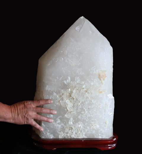 Extra Large Natural Quartz Crystal Point with Wooden Stand (Brazil #46) 120 pounds