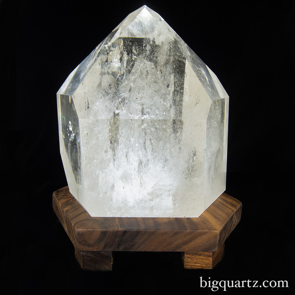 "Large Polished Quartz Crystal on ""Points of Light"" Illuminated Stand (Brazil #6700) 9.5 inches tall"
