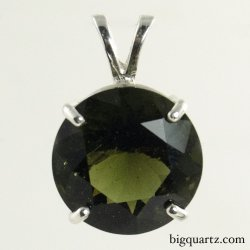 Faceted Moldavite Round Pendant in Sterling Silver, 22mm tall (Czech Republic #B672)