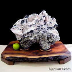 Large Mangano Calcite and Pyrite Crystal Specimen on Wood Stand (Peru, #8924) 75 pounds