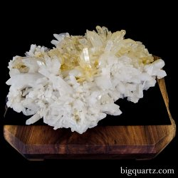 Large Golden Healer Quartz Crystal Cluster on Wooden Stand, Museum Quality (Arkansas, USA #106) 90 pounds