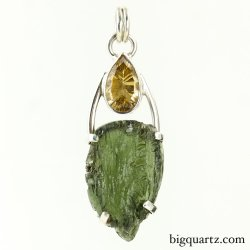 Natural Citrine and Moldavite Pendant (Sterling Silver, #9143)