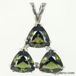 Faceted Moldavite Triple Triangle Pendant in Sterling Silver (Czech Republic #B592)