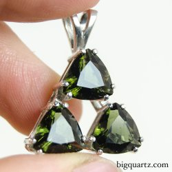 Large Faceted Moldavite Triple Triangle Pendant in Sterling Silver, 28mm tall (Czech Republic #B669)