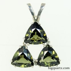 Faceted Moldavite Triangle Pendant in Sterling Silver (Czech Republic #B500)