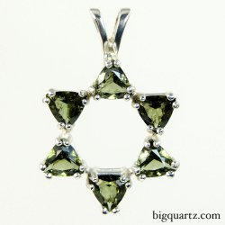 Faceted Moldavite Star of David  Pendant in Sterling Silver (Czech Republic #B584)