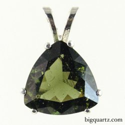 Faceted Moldavite Pendant in Sterling Silver (Czech Republic #B504)