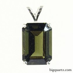 Faceted Moldavite Rectangle Pendant in Sterling Silver (#B503 Czech Republic)