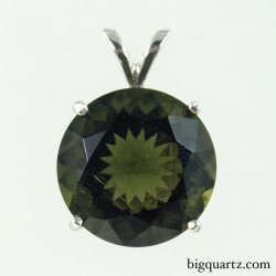 Faceted Moldavite Round Pendant in Sterling Silver (#B587 Czech Republic)