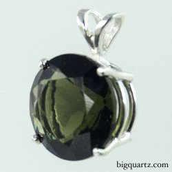Faceted Moldavite Round Pendant in Sterling Silver (#B588 Czech Republic)