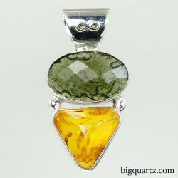 Faceted Amber and Moldavite Pendant (Sterling Silver, #9460)