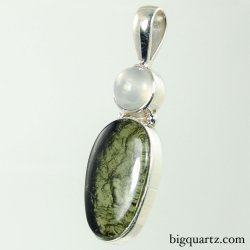 Moldavite and Moonstone Pendant (Sterling Silver, #9463)