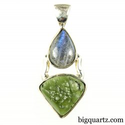 Labradorite and Moldavite Gemstone Pendant (Sterling Silver, #A055)