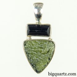 Natural Moldavite and Black Tourmaline Crystal Pendant (Sterling Silver, #A155)