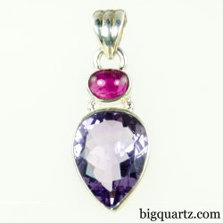 Rubellite Tourmaline and Faceted Amethyst Gemstone Pendant (Sterling Silver, #A167)