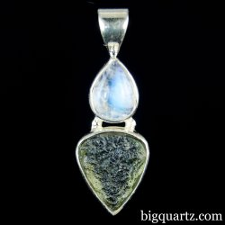Moonstone and Moldavite Crystal Pendant (Sterling Silver, #A173)