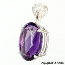 Faceted Amethyst Gemstone Pendant (Sterling Silver, #A240)
