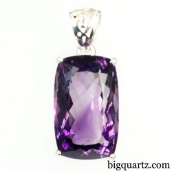 Faceted Amethyst Gemstone Pendant (Sterling Silver, #A243)
