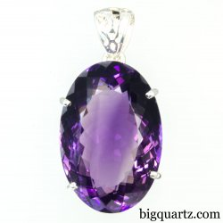 Faceted Amethyst Gemstone Pendant (Sterling Silver, #A244)