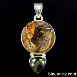 Amber and Polished Moldavite Crystal Pendant (Sterling Silver, #A251)