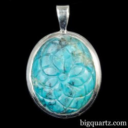 Etched Turquoise Flower Pendant (Sterling Silver, #A252)
