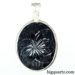 Etched Obsidian Flower Crystal Pendant (Sterling Silver, #A265)