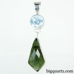 Faceted Aquamarine and Moldavite Crystal Pendant (Sterling Silver, #A266)