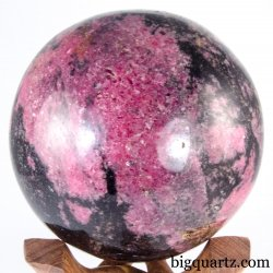 Large Rhodonite Crystal Sphere on Wood Stand (Madagascar, #A329) 4.5 pounds