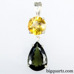 Faceted Citrine and Moldavite Pendant (Sterling Silver, #A331)