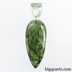 Precious Opal and Polished Moldavite Pendant (Sterling Silver, #A334)