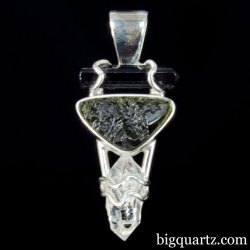 Black Tourmaline, Moldavite & Double Terminated Quartz Pendant (Sterling Silver, #A355)