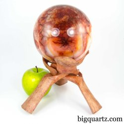 Large Carnelian Crystal Sphere w/ Wood Stand (Madagascar #A290) 6.5 pounds weight