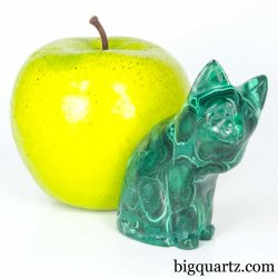 Malachite Cat Crystal Sculpture (Congo #A343) 2.4 inches tall