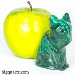 Malachite Cat Crystal Sculpture (Congo #A344) 2.75 inches tall