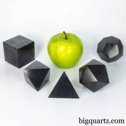 Shungite Platonic Solid Sculpture Set (#A384 Russia) 5 Pieces