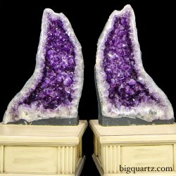 Large Decorator Amethyst Crystal Geode Pair (Brazil #8586) 32 inches tall (SOLD)