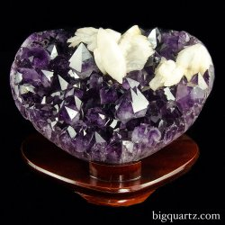 Large Amethyst and Calcite Crystal Geode Heart with stand (Brazil #8409) 12 inches wide