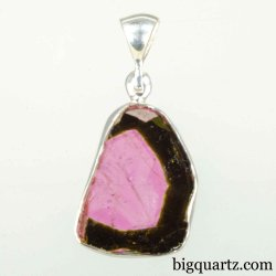 Polished Watermelon Tourmaline Crystal Pendant (Sterling Silver #B025)