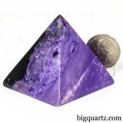 Charoite Crystal Pyramid Sculpture (Russia #B032) 1.8 inches tall