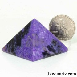 Charoite Crystal Pyramid Sculpture (Russia #B034) 1.2 inches tall