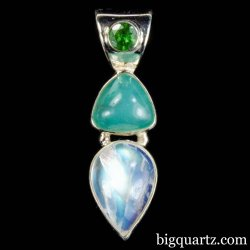 Green Tourmaline, Aquaprase, & Rainbow Moonstone Crystal Pendant (Sterling Silver #B069)