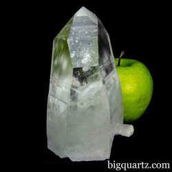 Lemurian Quartz Crystal Point w/ Flat Base, Partially Polished (Brazil #B113) 5.4 inches