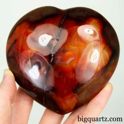 Carnelian Crystal Heart Sculpture (Madagascar #B491) 4 inches wide