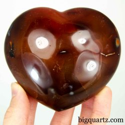 Carnelian Crystal Heart Sculpture (Madagascar #B492) 3.75 inches wide