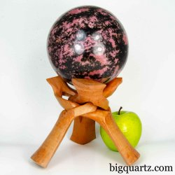 Large Rhodonite Crystal Sphere on Wood Stand (Madagascar #B565) 10.2 pounds weight