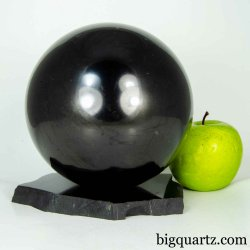 Extra Large Shungite Sphere w/ Shungite Stand (#B606 Russia) 5.9 inches diameter / 10.3 pounds total weight