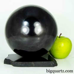 Extra Large Shungite Sphere w/ Shungite Stand (#B607 Russia) 5.9 inches diameter / 10.5 pounds total weight