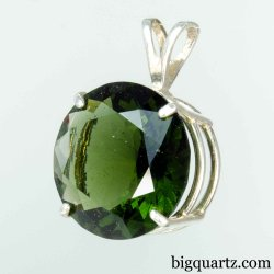 Large Faceted Moldavite Round Pendant in Sterling Silver, 27mm tall (Czech Republic #B640)