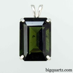 Large Faceted Moldavite Rectangle Pendant in Sterling Silver, 24mm tall (Czech Republic #B643)